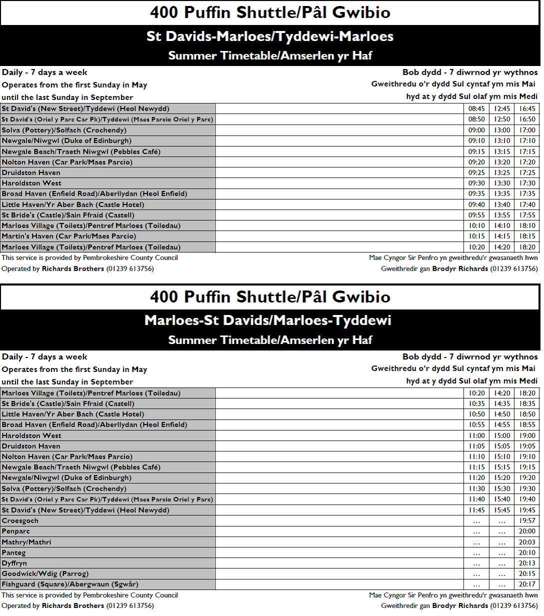 Puffin shuttle timetable